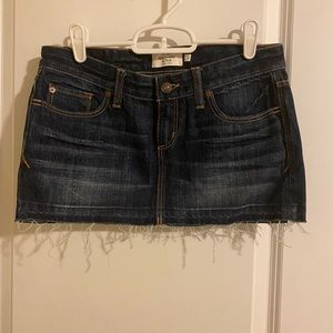 abercrombie & fitch dark wash jean mini skirt